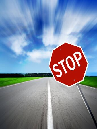 field stripped: traffic sign of the foots daytime Stock Photo