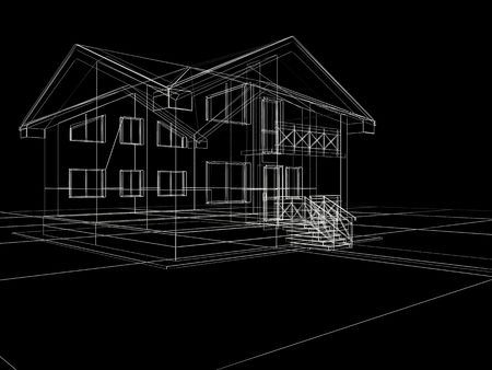processed: processed model of the building in 3D Stock Photo