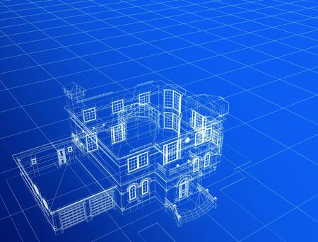 processed model of the building in 3D Stock Photo - 4641118