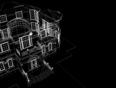 processed model of the building in 3D Stock Photo - 4641052