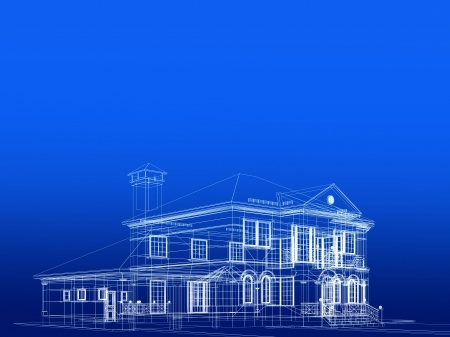 house blueprint: processed model of the building in 3D Stock Photo