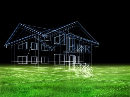 processed model of the building in 3D Stock Photo - 4641120