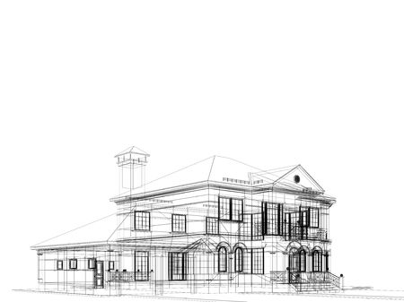 house sketch: processed model of the building in 3D Stock Photo