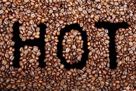 hot grain coffee on black background photo