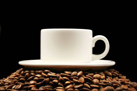 cup coffee on table photo