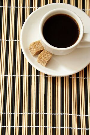 cup coffee and reed sugar Stock Photo - 4655343