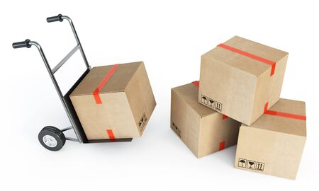 moving truck: piles of cardboard boxes Stock Photo