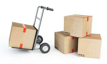 sacktruck: piles of cardboard boxes Stock Photo