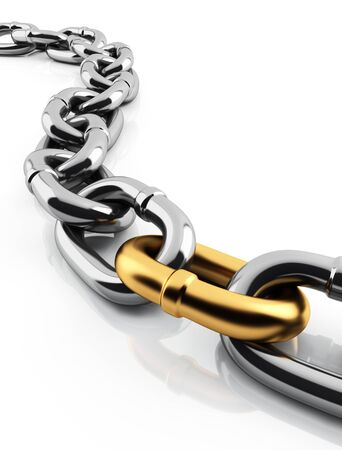 group chain: 3d chain and golden link Stock Photo