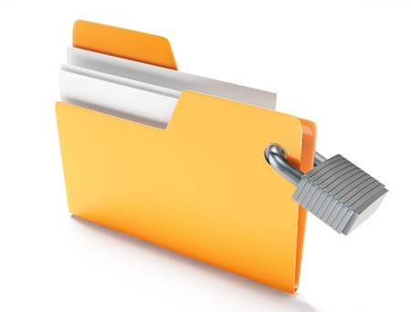 private access: Folder with padlock Stock Photo