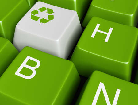 Recycle  on green button photo