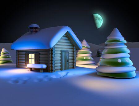 log cabin winter: winter landscape Stock Photo