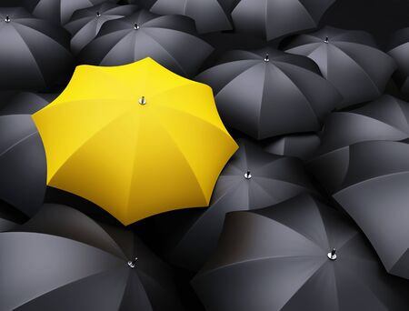 black and yellow: lots of umbrellas