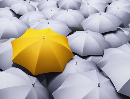 yellow umbrella: lots of umbrellas