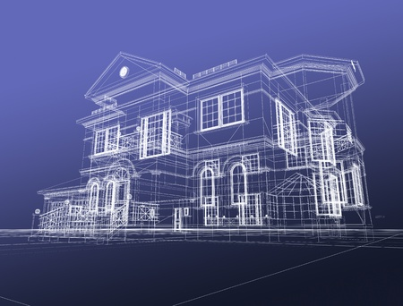 housing project: 3d draw house Stock Photo