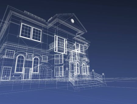 estate: 3d draw house Stock Photo