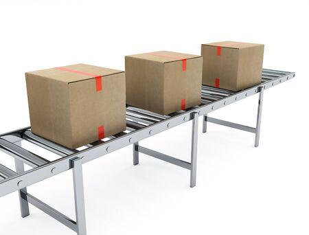 distribution board: Cardboard boxes on conveyor belt