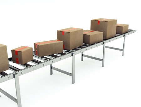 Cardboard boxes on conveyor belt photo