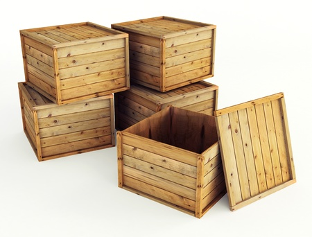 wooden crate: several wooden crates