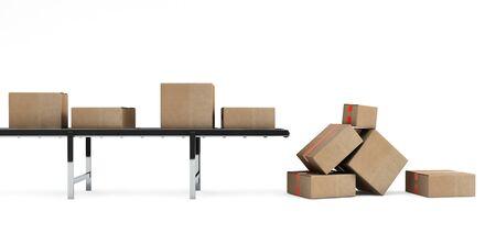 shipped: Cardboard boxes on conveyor belt