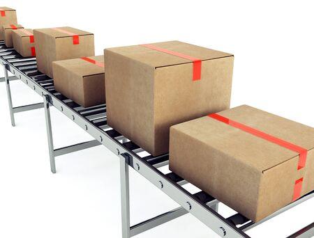 cinta transportadora: Cajas de cart�n en la cinta transportadora