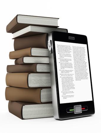 e book reader: mobile phone and books