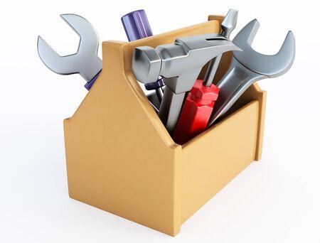 herramientas de carpinteria: Cuadro de herramientas Foto de archivo