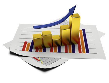 statistique: business graph 3d