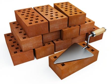 Trowel and bricks photo