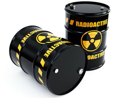 atomic symbol: radioactive barrels Stock Photo