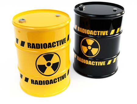 caution chemistry: radioactive barrels Stock Photo