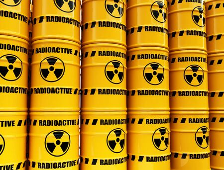 nuclear weapons: toxic waste barrels Stock Photo