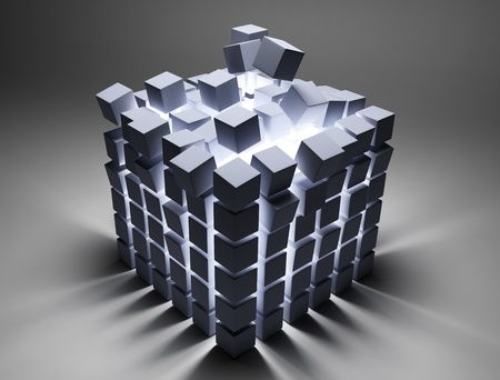 metal net: abstract cubes Stock Photo