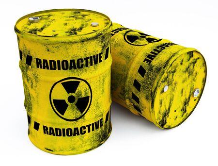 radioactive warning symbol: radioactive barrels Stock Photo