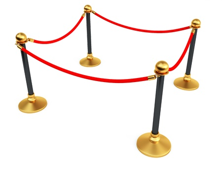 pedestrian walkway: Gold stanchions Stock Photo