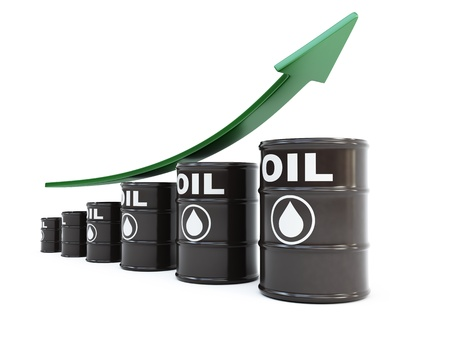 oil barrel: Barriles de petr�leo con flecha