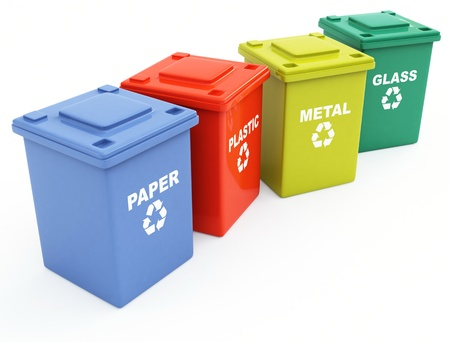 recycle bin: containers for recycling Stock Photo