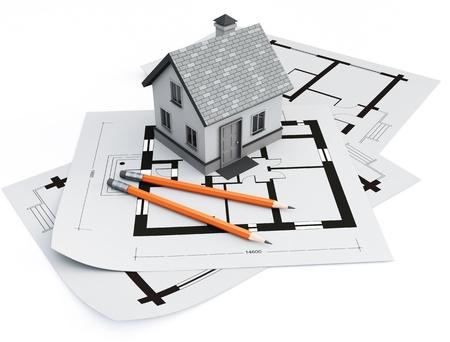 Maison sur des plans d'architecture Banque d'images - 9685637
