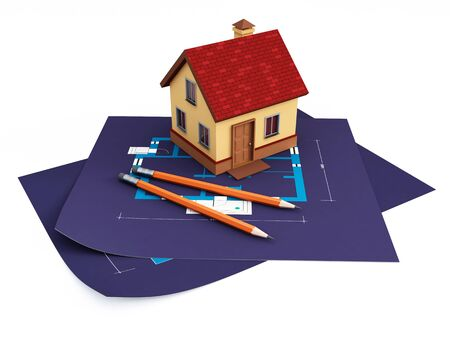 blueprints and house photo