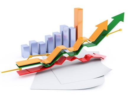 stock chart: 3d business chart