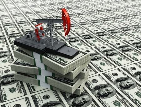 drilling machine: Oil pump and dollars Stock Photo