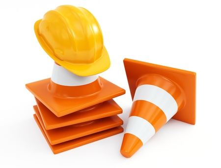 traffic cones and hardhat photo