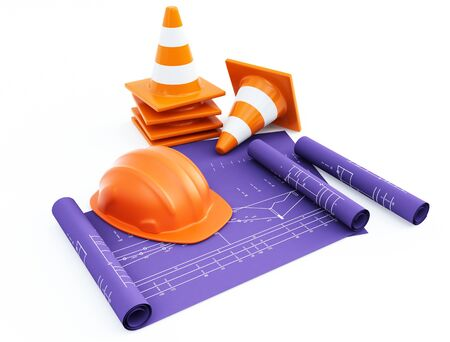 traffic cones and hardhat with plans photo