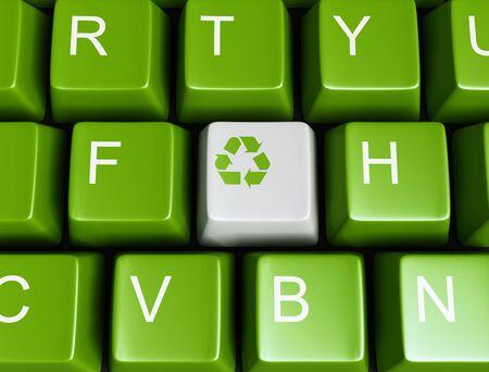 contaminacion ambiental: Teclado reciclado verde