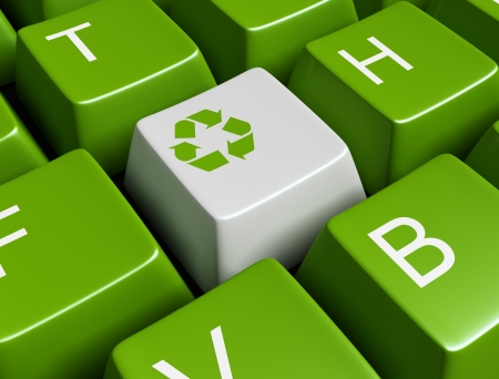 plastic waste: Green recycling keyboard Stock Photo