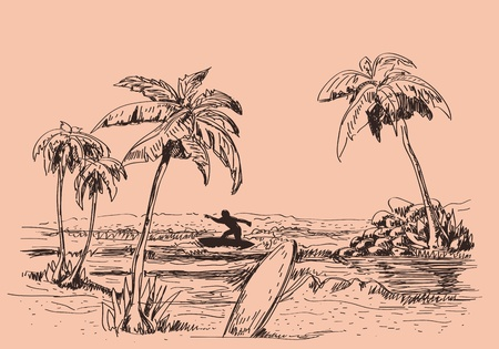 palmtrees: Holidays hand draw background