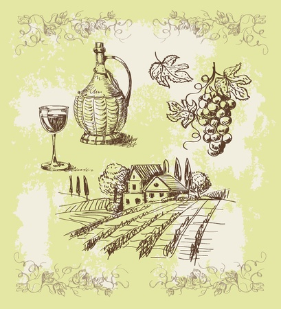 italy landscape: wine collection Illustration