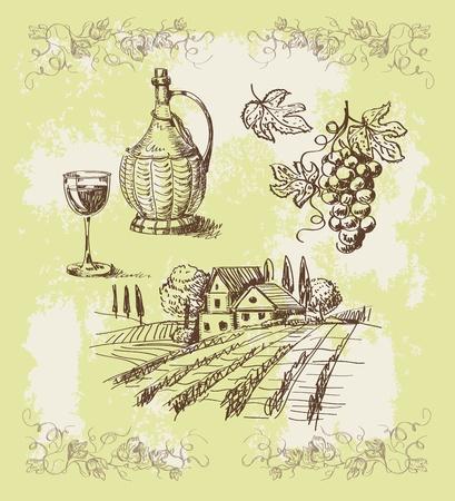 wines: wine collection Illustration