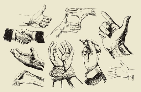 Hands collection Stock Vector - 9994570