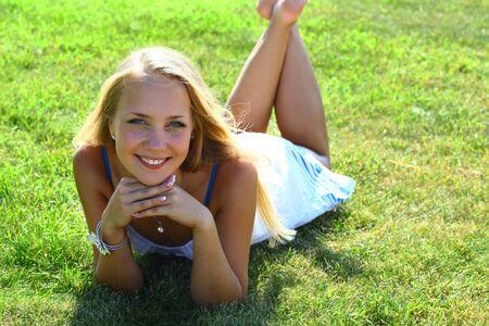 girl on grass field Stock Photo - 9994618